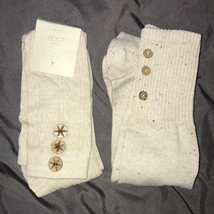 2 Pairs Beige Cream Boot Socks w/Buttons